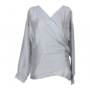 Kivee Grey Wrap Blouse