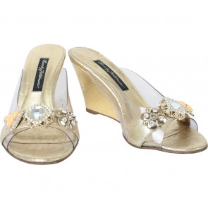 Beverly Feldman Gold And Transparent Sandals
