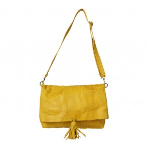 Kamali Yellow Snakeskin Sling Bag