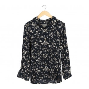 Perri Cutten Black And Cream Floral Shirt