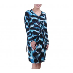 Diane Von Furstenberg Blue And Black Wrap Mini Dress