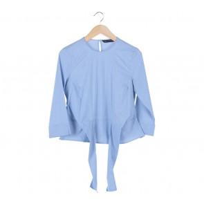 Zara Blue Striped Tied Blouse