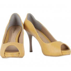 Heatwave Yellow Kunza Peep Toe Heels