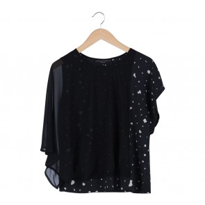 Twinkle by Wenlan Black Sheer Wing Blouse