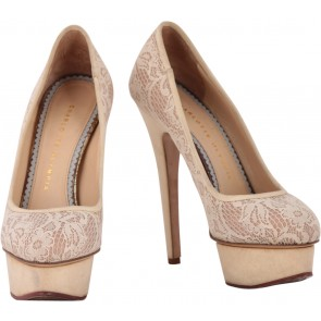Charlotte Olympia Cream Lace Dolly Heels