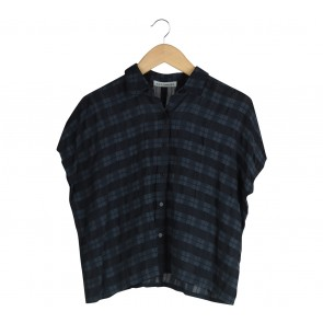 Cotton Ink Dark Blue Plaid Shirt
