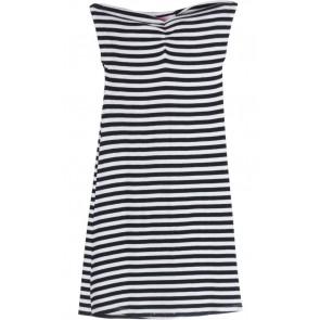 Black and White Tube Stripes Mini Dress