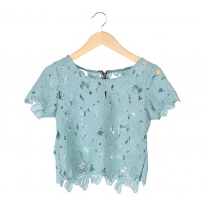 Ponytale Green Floral Crop Blouse
