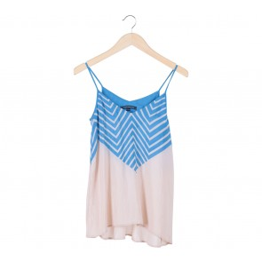 French Connection Blue And Cream Sleeveless