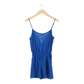 Divided Blue Sleeveless Cross Back Jumpsuit