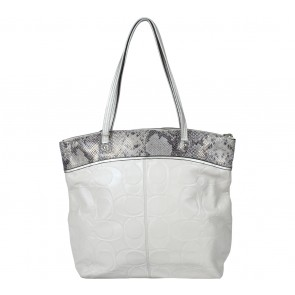 Coach Cream Laura Embossed White Parchment Tote Bag