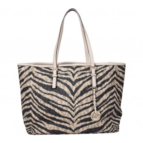 Michael Kors Black And Cream Animal Print Medium Jet Set Travel Multifunction  Tote Bag