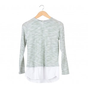 Cotton Ink Green And White Combi Blouse