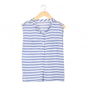 GAP White And Blue Striped Sleeveless Blouse