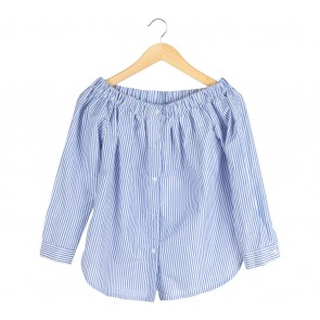 M by Mischa Blue And White Striped Bardot Blouse