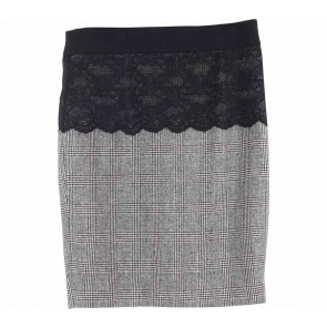 Zara Grey And Black Combi Lace Skirt