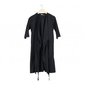 Cotton Ink Black Wrep Midi Dress