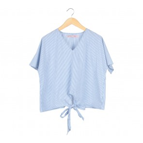 Cotton Ink Blue And White Striped Tied Blouse