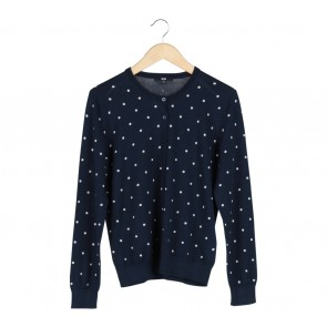 UNIQLO Dark Blue And White Polka Dot Cardigan