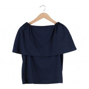 Shop At Velvet Dark Blue Bardot Blouse