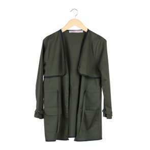 Cotton Ink Dark Green And Black Trim Coat