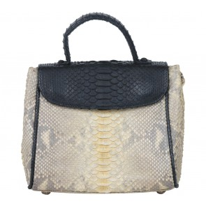 Pla Black And Cream Snakeskin Satchel