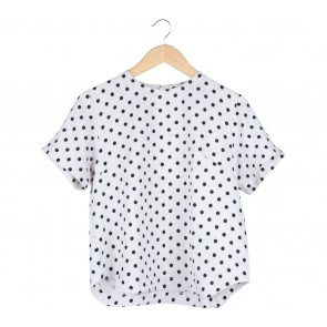 Cotton Ink White And Black Polka Dot Blouse