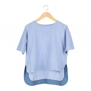Dot Dtails White And Blue Striped Blouse
