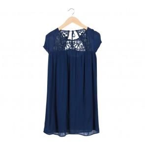 Zara Blue Crochet Insert Midi Dress