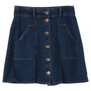 Cotton Ink Blue Buttoned Denim Midi Skirt