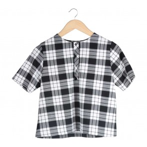 Cotton Ink Black And White Plaid Blouse