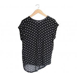 Zara Black And White Polka Dot T-Shirt