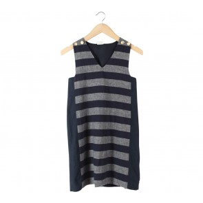 Petite Cupcake Dark Blue And Grey Striped Sleeveless Mini Dress