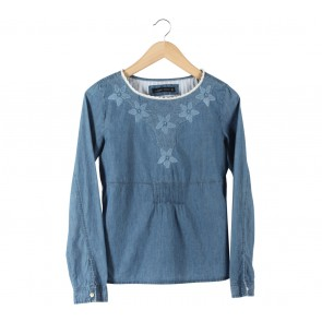 Zara Blue Embroidery Blouse