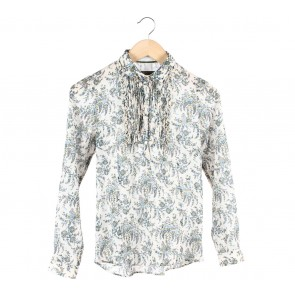 Zara Off White And Blue Floral Shirt