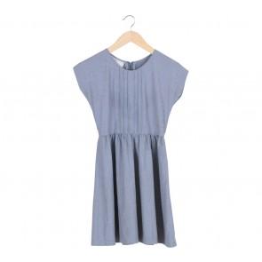 Petite Cupcake   Grey Babydoll Mini Dress