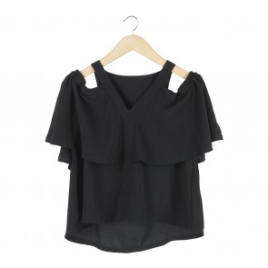 Cotton Ink Black Off Shoulder Blouse