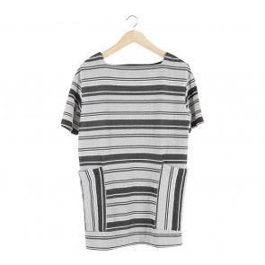 Zara Black And White Striped Mini Dress