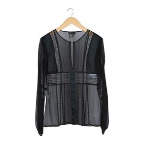 BCBG Maxazria Black Sheer Blouse