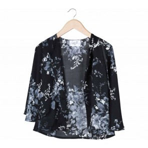 Etoffe Black And Multi Colour Floral Cape Outerwear