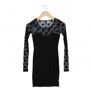 Divided Black Polka Dot Combi Mini Dress