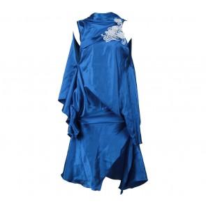 Blue Embroidery Mini Dress