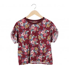 Zara Red Floral T-Shirt
