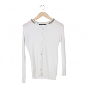 Zara White Beaded Collar Cardigan