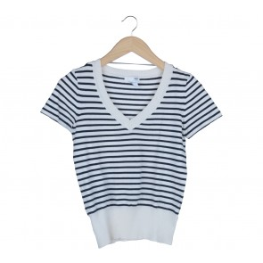 H&M Dark Blue And White Striped Sweater