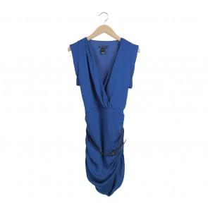 Mango Blue Wrap Belted Midi Dress