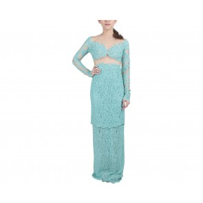Marga Alam Blue Lace Sequins Long Dress