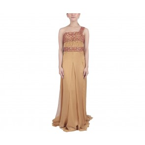 Marga Alam Brown And Red One Shoulder Long Dress