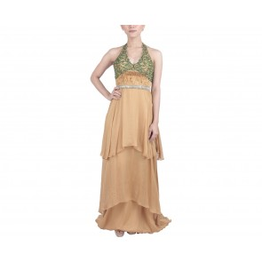 Marga Alam Brown Halter Neck Sequins Long Dress