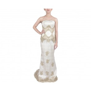 Marga Alam Cream And Gold Sequins Tube Two Piece